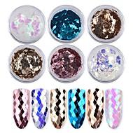 6 cores do diamante laser colorido lantejoulas 1g / caixa