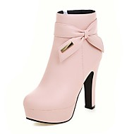 cheap Extended-Size Shoes-Women's Shoes Leatherette Fall Winter Fashion Boots Bootie Boots Chunky Heel Platform Round Toe Booties/Ankle Boots Bowknot Sequin Zipper