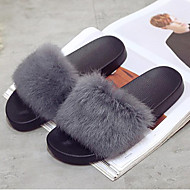cheap Women's Slippers & Flip-Flops-Women's Shoes Fur Fall / Winter Fur Lining / Comfort Slippers & Flip-Flops Flat Heel Open Toe for Gray / Green / Wine
