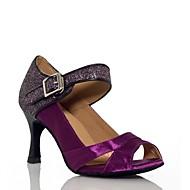 Dame Latin Silke Sandaler Opptreden Spenne Kubansk hæl Lilla Mandel 7,5 cm Kan spesialtilpasses