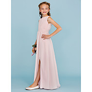 cheap -Sheath / Column Crew Neck Floor Length Chiffon Junior Bridesmaid Dress with Draping / Sash / Ribbon / Split Front by LAN TING BRIDE® / Wedding Party / Furcal