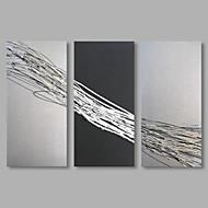 baratos -Pintados à mão Abstrato Horizontal,Artistíco 3 Painéis Tela Pintura a Óleo For Decoração para casa