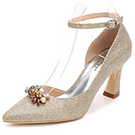 cheap Wedding Shoes-Women's Shoes Glitter Spring Fall Basic Pump Ankle Strap Wedding Shoes Chunky Heel Pointed Toe Rhinestone Crystal For Wedding Party &