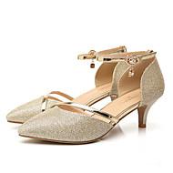 Női Cipő Bőrutánzat Tavasz Nyár Kényelmes Magassarkúak Stiletto Erősített lábujj Flitter Kompatibilitás Party és Estélyi Arany Ezüst