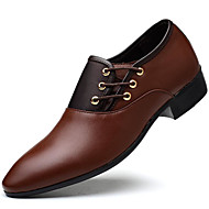 Men's Shoes Leatherette Fall Winter Formal Shoes Oxfords Split Joint For Party & Evening Office & Career Black Yellow Brown