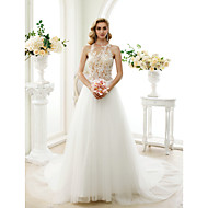 A-kroj Princeza Ovalni izrez Dugi šlep Čipka Til Vjenčanica s Aplikacije Gumbi po LAN TING BRIDE®
