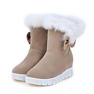 Damen Schuhe Wildleder Herbst Winter Komfort Neuheit Schneestiefel Modische Stiefel Stiefel Flacher Absatz Runde Zehe Mittelhohe Stiefel
