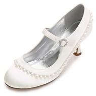 Dame Sateng Vår / Sommer Komfort / Basispumps bryllup sko Liten hæl / Lav hæl / Stiletthæl Rund Tå Rhinsten / Perle / Imitasjonsperle Blå / Lysebrun / Krystall / Gummi / Bryllup / Fest / aften