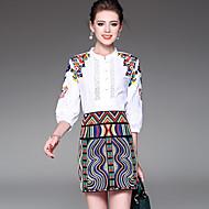 Feminino Camisa Social Saia Conjuntos Para Noite Casual Simples Moda de Rua Sofisticado Outono,Bordado Bordado Poliéster Colarinho Chinês