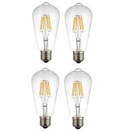 4本 6W E27 フィラメントタイプLED電球 ST64 6 LEDの COB 装飾用 温白色 ホワイト 560lm 2200-6500K 交流220から240V