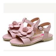 女の子 靴 レザーレット 夏 フラワーガールシューズ コンフォートシューズ サンダル フラワー 用途 結婚式 ドレスシューズ ピンク ライトブルー