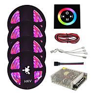 זול רצועות נורות LED-HKV ערכות תאורה 1200 נוריות RGB ניתן לחיתוך Spottivalo עמיד במים החלפת צבעים נדבק לבד ניתן להרכבה 110-220V