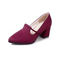 baratos -Feminino Sapatos Flanelado Primavera Outono Conforto Saltos Salto Grosso Dedo Apontado Para Preto Azul Escuro Vinho
