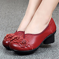 Women's Shoes Real Leather Spring Fall Comfort Loafers & Slip-Ons Low Heel Round Toe For Casual Blue Red Black