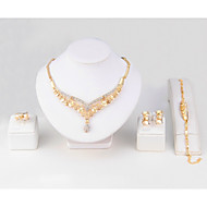 Mulheres Anel Pulseira Colar Diamante sintético Chapeado Dourado Formato de Folha Clássico Estilo simples Casamento Festa Aniversário