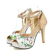 baratos Sapatos Femininos-Mulheres Sapatos Micofibra Sintética PU Verão / Outono Conforto / Inovador Sandálias Salto Agulha Peep Toe Presilha Vermelho / Verde /