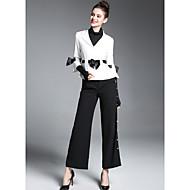 odijela Normalne dužine Žene, Ulični šik Izlasci Color block Kragna košulje Zima Poliester