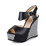 Womens Shoes PU Summer Fall Comfort Novelty Sandals Wedge Heel Peep Toe  Buckle for Dress Office  Career White Black Blue Pink
