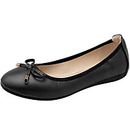 Women's Shoes PU Nappa Leather Spring Summer Ballerina Light Soles Flats Flat Heel Round Toe Closed Toe Bowknot For Casual Outdoor