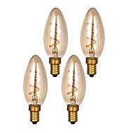 tanie Więcej Kupujesz, Więcej Oszczędzasz-ONDENN 4szt 3W 300lm E14 Żarówka dekoracyjna LED C35 1 Koraliki LED COB Przysłonięcia Ciepła biel 220-240V