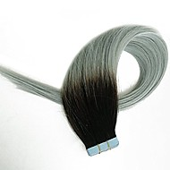 Tape in Hair Extensions Human Hair Extensions Black to Grey Two Tones Silky Straight Skin Weft Human Remy Real Hair