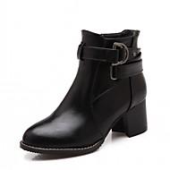 tanie Small Size Shoes-Damskie Obuwie Derma Zima Jesień Kozaki na obcasie Comfort Zabawne Buciki Gruby obcas Okrągły Toe Kozaczki / kozaki do kostki Klamra na