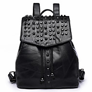 Women Bags PU Backpack Beading for Casual Traveling All Seasons Black