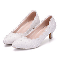 cheap Wedding Shoes-Women's Shoes PU Spring Fall Comfort Novelty Wedding Shoes Low Heel Pointed Toe Applique Beading Pearl For Wedding Party & Evening