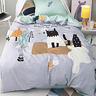 Duvet Cover Sets Cartoon 3 Piece Cotton Reactive Print Cotton 1pc Duvet Cover 1pc Sham 1pc Flat Sheet