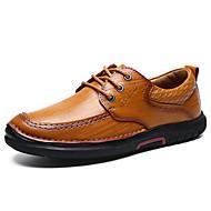 Masculino sapatos Pele Primavera Outono Conforto Oxfords Cadarço Para Casual Castanho Claro Castanho Escuro
