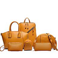 Mulheres Bolsas Couro Ecológico Conjuntos de saco 6 Pcs Purse Set Ziper para Casual Todas as Estações Azul Preto Rosa Amarelo