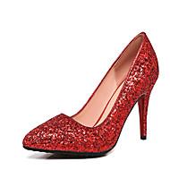 olcso -Női Cipő Bőrutánzat Tavasz Ősz Kényelmes Magassarkúak Stiletto Erősített lábujj Flitter Kompatibilitás Esküvő Ruha Arany Forgásc Piros