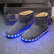 tanie Obuwie dziewczęce-Dla dziewczynek Obuwie Siateczka Zima Wygoda / Śniegowce / Kozaki na obcasie Botki LED na Szary / brązowy / Różowy / Świecące buty / Świecące buty