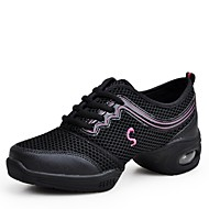 "billige Dansesneakers-Dame Dansesko Tyll Joggesko Trening Tvinning Sided Hollow Out Flat hæl Gull Fuksia Blå Rosa 1 ""- 1 3/4"""