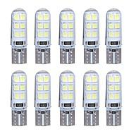 10pcs t10 w5w levou luz interior do carro 2835 12smd lâmpada bulbo cunha estacionamento domo luz canbus auto carro styling dc12v