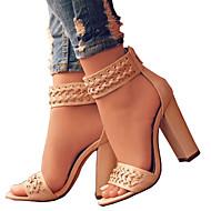 Χαμηλού Κόστους Prom Shoes-Γυναικεία Παπούτσια PU Άνοιξη Καλοκαίρι Ανατομικό Πρωτότυπο Σανδάλια Ανοικτή μύτη Φερμουάρ για Γάμου Πάρτι & Βραδινή Έξοδος Μαύρο Μπεζ