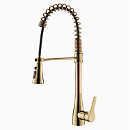 cheap Kitchen Faucets-Contemporary Modern Style Art Deco/Retro Centerset Centerset Widespread Multi-function Ceramic Valve Gold, Kitchen faucet