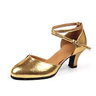 billige Moderne sko-Dame Moderne Fuskelær Høye hæler Profesjonell Spenne Kubansk hæl Gull Svart Sølv Rød Kan spesialtilpasses