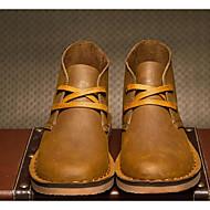 Masculino sapatos Pele Outono Inverno Coturnos Solados com Luzes Botas Para Casual Preto Khaki