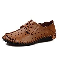 baratos Sapatos Masculinos-Homens Couro Sintético / Pele Primavera / Outono Conforto Tênis Preto / Castanho Claro / Castanho Escuro