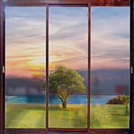 tanie סרטים ומדבקות לחלון-Nadruk Święta Bożego Narodzenia Naklejka okienna, PVC/Vinyl Materiał Dekoracja okna Salon