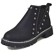 Žene Cipele PU Jesen Udobne cipele Modne čizme Čizme Okrugli Toe Čizme gležnjače / do gležnja Elastika za Kauzalni Crn Vojska Green