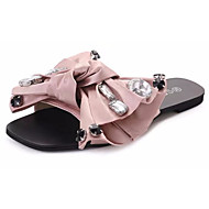 cheap Women's Slippers & Flip-Flops-Women's Shoes Fabric Summer Comfort Slippers & Flip-Flops Walking Shoes Open Toe Bowknot for Outdoor Black Silver Pink
