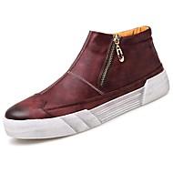 メンズ 靴 PUレザー 秋 冬 コンフォートシューズ スニーカー ジッパー 用途 カジュアル ブラック Brown ワイン