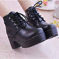 cheap -Women's Nappa Leather Winter Combat Boots Boots Chunky Heel Booties / Ankle Boots White / Black