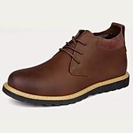 Masculino sapatos Pele Outono Inverno Conforto Botas Cadarço Para Preto Café
