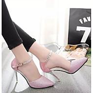 baratos -Feminino Sapatos Pele Nobuck Couro Ecológico Primavera Outono Plataforma Básica Saltos Salto Agulha Para Casual Dourado Prata Rosa claro