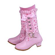 Para Meninas sapatos Couro Ecológico Outono Inverno Conforto Inovador Botas Laço Presilha Ziper Para Casamento Social Rosa claro