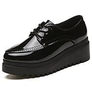 Damen Schuhe PU Herbst Komfort Outdoor Runde Zehe Schnürsenkel Für Normal Schwarz