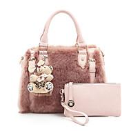 Χαμηλού Κόστους Fur Bags-Γυναικεία Τσάντες Γούνα Σετ τσάντα 2 σετ Σετ τσαντών Φερμουάρ για Ψώνια Causal Όλες οι εποχές Λευκό Μαύρο Ανθισμένο Ροζ